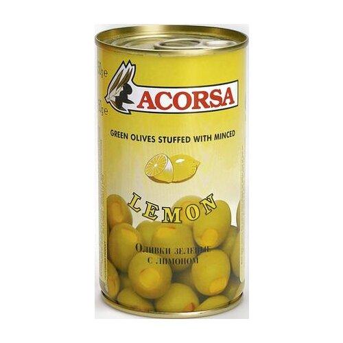 Acorsa Оливки зеленые фаршированные лимоном, жестяная банка 350 г
