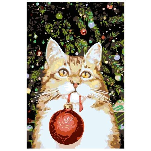 Купить Новогодний котик Раскраска картина по номерам на холсте A175 40х60, Живопись по номерам, Картины по номерам и контурам