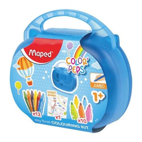 Купить Набор для творчества MAPED Color'Peps Jumbo , 10 фломастеров, 12 утолщенных восковых мелков, раскраска, пластиковый пенал, 897416, Раскраски