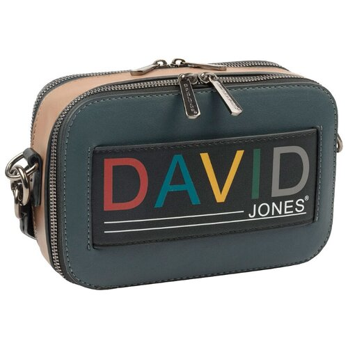 Сумка кросс-боди DAVID JONES 6138-1, искусственная кожа, зеленый/бежевый