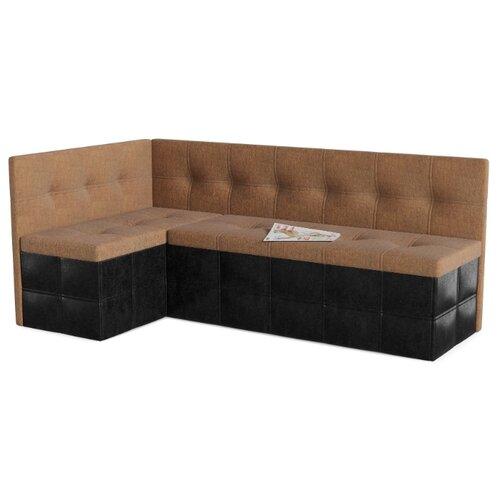 Кухонный диван SMART Домино левый коричневый/черный