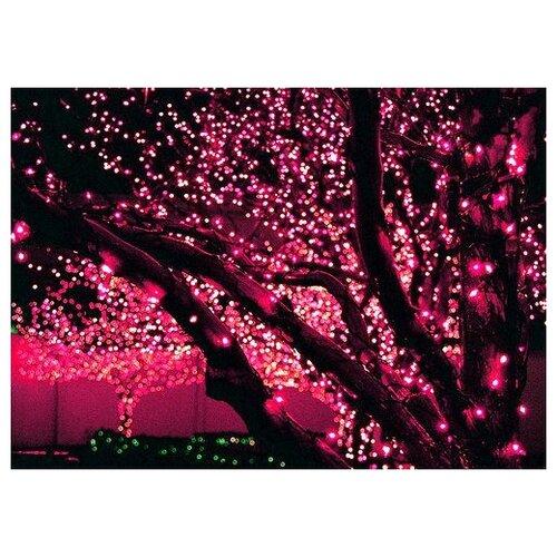 КЛИП ЛАЙТ МЕРЦАЮЩИЙ (Clip Light BLINKING) комплект 60м с 600 розовыми/холодными белыми LED лампами, 24V, прозрачный провод, уличный, BEAUTY LED