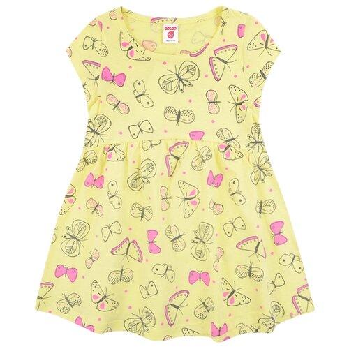 Платье Optop размер 122, бледно-желтый/бабочки