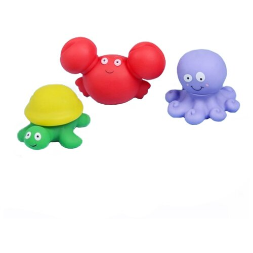 Купить Набор для ванной Крошка Я Морские жители (2300093) красный/желтый/зеленый/фиолетовый, Игрушки для ванной