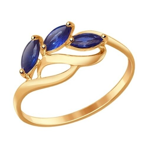 SOKOLOV Кольцо из золота с корундами сапфировыми (синт.) 714605, размер 17.5