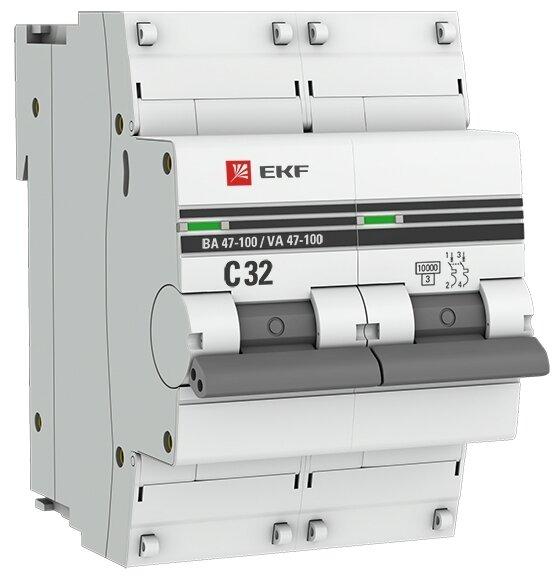 Автоматический выключатель EKF ВА 47-100 2P (C) 10kA