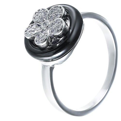 ELEMENT47 Кольцо из серебра 925 пробы с керамикой и кубическим цирконием CAR2330_KO_002_WG, размер 16.75
