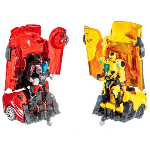 Купить Робот-трансформер Jia Qi Поединки робокаров (2 гоночных машины) желтый/красный, Роботы и трансформеры