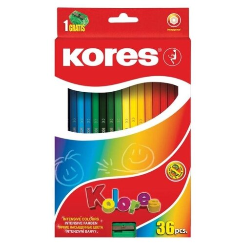 Фото - Kores Карандаши цветные Kores 36 цветов с точилкой (128901) карандаши восковые мелки пастель kores карандаши цветные шестигранные с точилкой 12 цветов