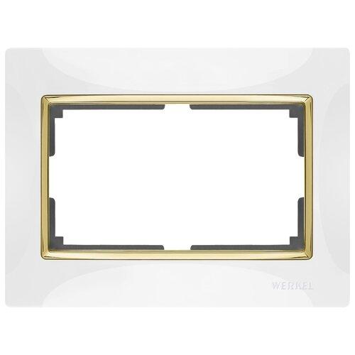 Рамка 1п Werkel WL03-Frame-01-DBL, белый/золото рамка 1п werkel wl01 frame 01 dbl белый