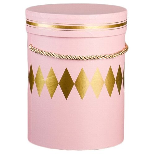 Коробка подарочная Yiwu Youda Import and Export круглая для цветов 14 х 18.5 х 14 см розовый