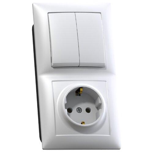 Блок комбинированный Кунцево-ЭлектроБКВР-412 8208 Селена, с заземлением, белый