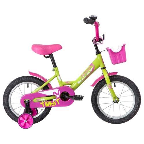 цена на Детский велосипед Novatrack Twist 14 (2020) с корзиной зеленый/розовый (требует финальной сборки)