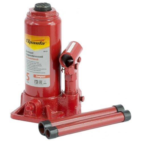 Домкрат бутылочный гидравлический Sparta Compact 50333 (5 т) красный