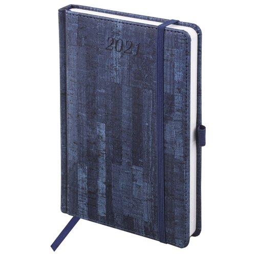 Купить Ежедневник BRAUBERG Wood датированный на 2021 год, искусственная кожа, А5, 168 листов, синий, Ежедневники, записные книжки
