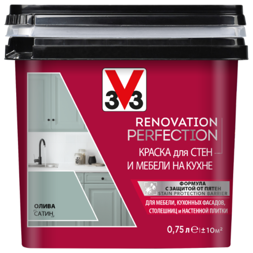 Краска акриловая V33 Renovation Perfection для стен и мебели на кухне влагостойкая моющаяся полуматовая олива 0.75 л лак для мебели easy relook v33 полуматовая ангора 0 5л