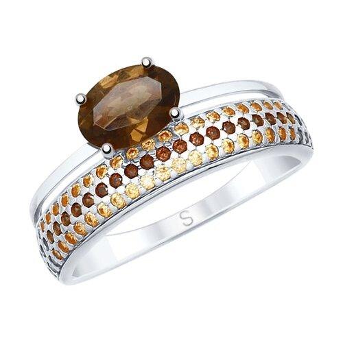 SOKOLOV Кольцо из серебра с раухтопазом и фианитами 92011616, размер 16 по цене 1 914