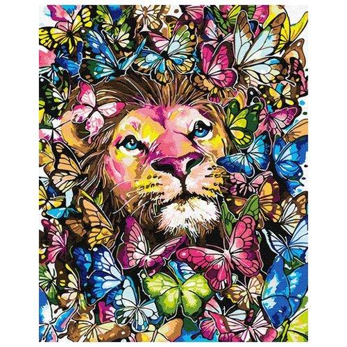 Купить Картина по номерам ВанГогВоМне ZX 23460 Лев в бабочках 40х50 см, Картины по номерам и контурам