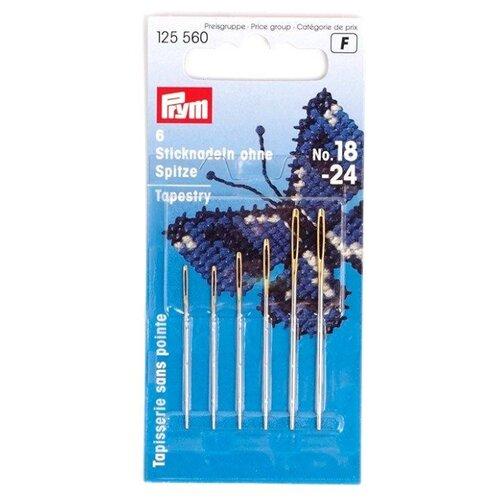Купить Набор игл ручных Prym 125560 для вышивки без острия, серебристый, 6 шт., Иглы