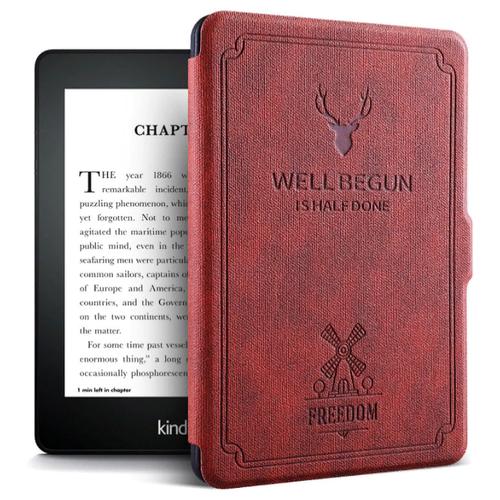 Чехол-обложка MyPads Premium для Amazon Kindle PaperWhite 2018 из высококачественной эко-кожи класса премиум книга в стиле Винтаж под старину красный