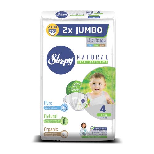 Купить Sleepy подгузники Natural Ultra Sensitive 4 (7-14 кг) 60 шт., Подгузники