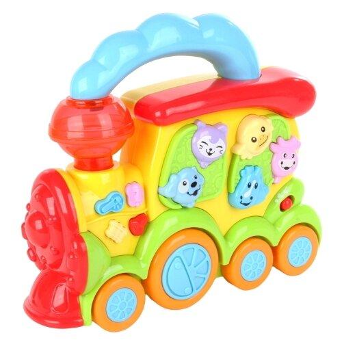 Развивающая игрушка Умный Я Веселый локомотивчик голубой/желтый/зеленый/красный