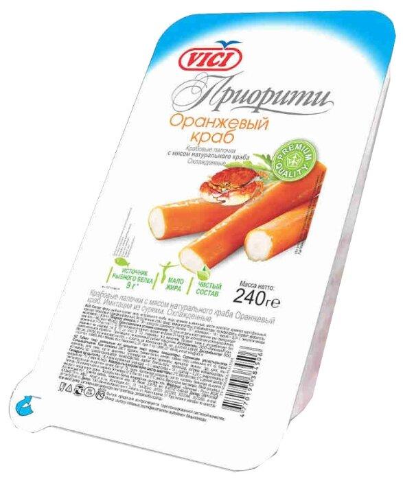 Vici Крабовые палочки охлажденные Оранжевый краб Приорити из сурими с мясом натурального краба