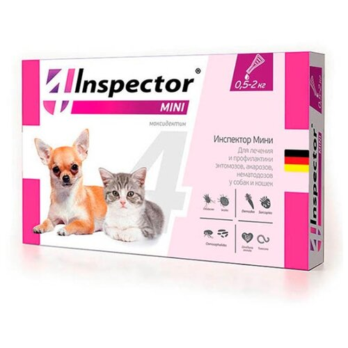 Inspector Mini Капли от блох, клещей и гельминтов для кошек и собак капли для кошек inspector от 4 8кг капли от внеш и внутр паразитов 1 пипетка