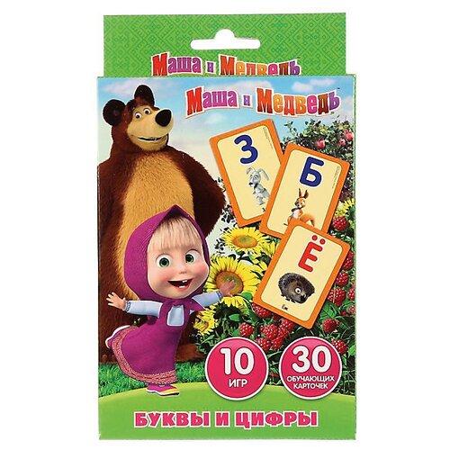 Набор карточек Умка Маша и Медведь Учим алфавит и цифры 16x10 см 30 шт. набор карточек литера карточки для умного развития времена года 16x10 7 см 34 шт