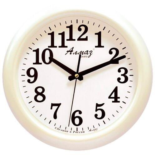 Часы настенные кварцевые Алмаз H06-H08 белый часы настенные кварцевые алмаз p12 золотистый белый
