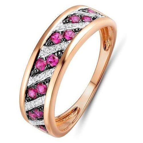 ЛУКАС Кольцо с рубинами и бриллиантами из красного золота R01-D-R312800RUY, размер 16.5 кольцо из золота r01 d 68997r001 r