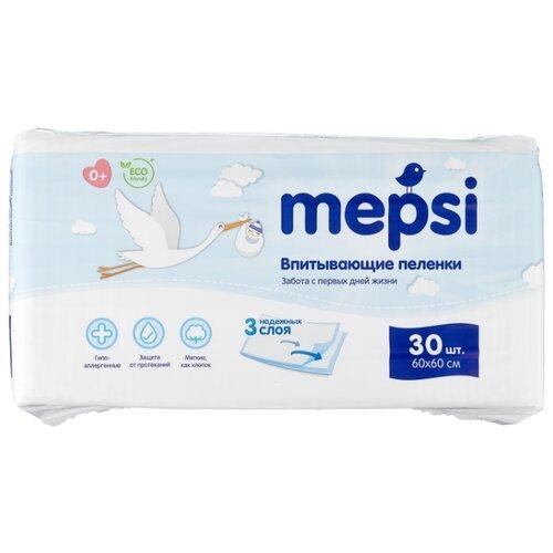 Купить Одноразовые пеленки Mepsi 60х60 30 шт., Пеленки, клеенки