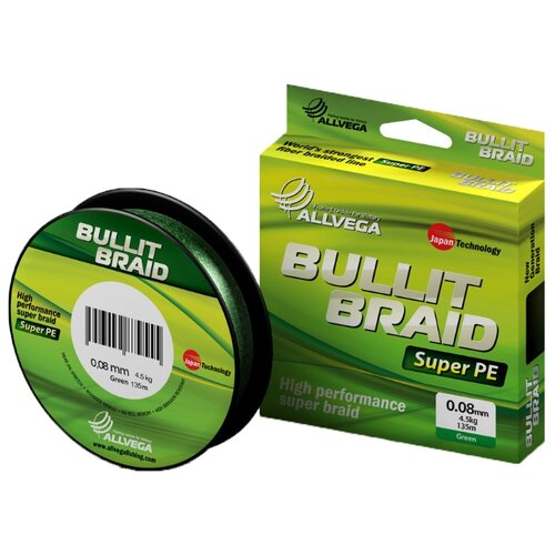 Плетеный шнур ALLVEGA BULLIT BRAID dark green 0.08 мм 135 м 4.5 кг