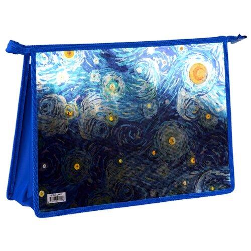 ArtSpace Папка для тетрадей Van Gogh А4, на молнии, пластик синий недорого