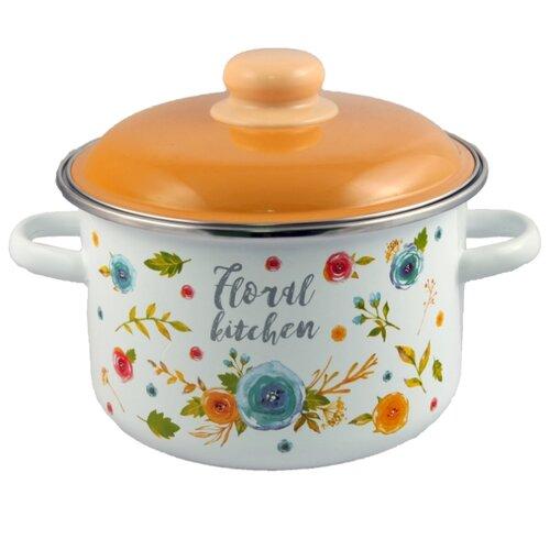 Кастрюля Appetite Floral kitchen 4 л, белый/оранжевый
