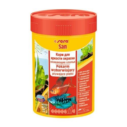 Сухой корм для рыб Sera Sera San для улучшения окраски 100 мл 22 г sera sera fd mixpur корм для рыб сублимированный мотыль трубочник дафния криль 100 мл