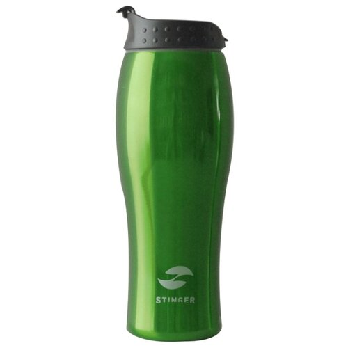Термокружка Stinger, 0,4 л, сталь/пластик, зеленый глянцевый, 6,5х22,3 см