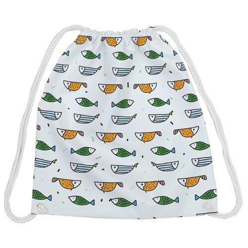 Купить JoyArty Рюкзак-мешок Рыбки в строй (bpa_164357) белый/зеленый/желтый, Мешки для обуви и формы