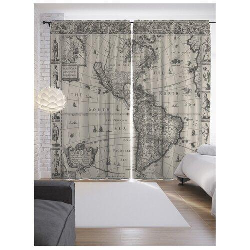 Портьеры JoyArty Древняя карта Америки на ленте 265 см (p-13748)