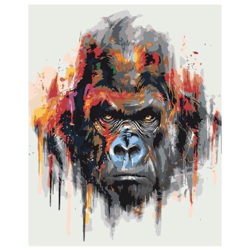 Купить Горилла Раскраска картина по номерам на холсте zgena300120 40х50, Живопись по номерам, Картины по номерам и контурам