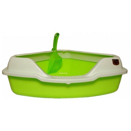 Туалет-лоток для кошек Homecat 65115/65116/65117/3156319/3516333/3516326/3516302 56х42х18 см зеленый