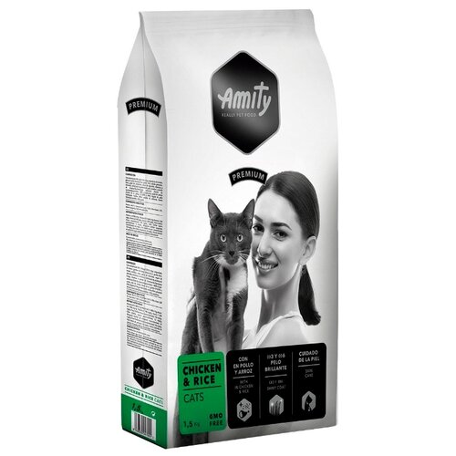 Корм для кошек Amity для здоровья кожи и шерсти, с курицей и с рисом 1.5 кг