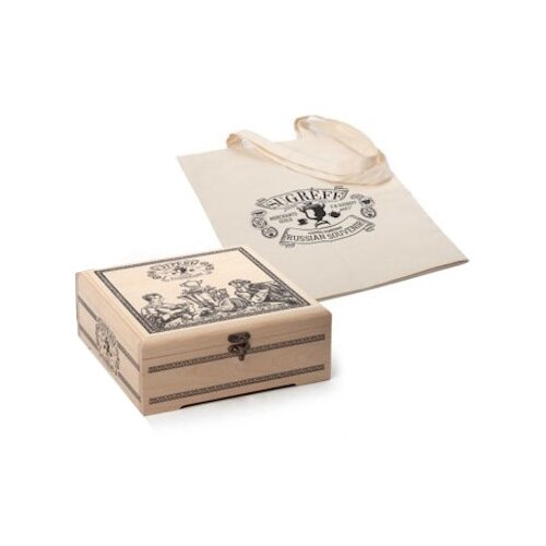 Чай Сугревъ ассорти подарочный набор в деревянной шкатулке с холщовой сумкой , 225 г чернослив шоколадный кремлина самолет в резной деревянной шкатулке 400 г