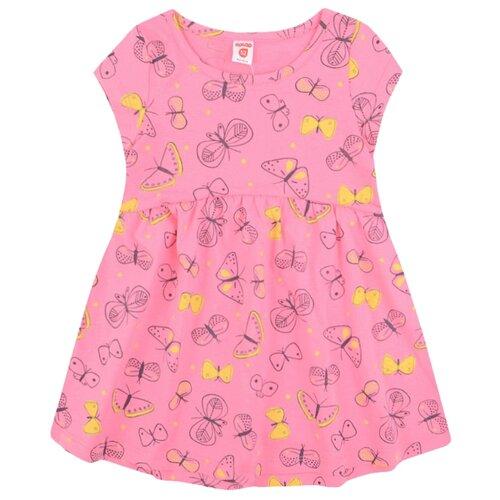 Платье Optop размер 104, клубничное суфле/бабочки
