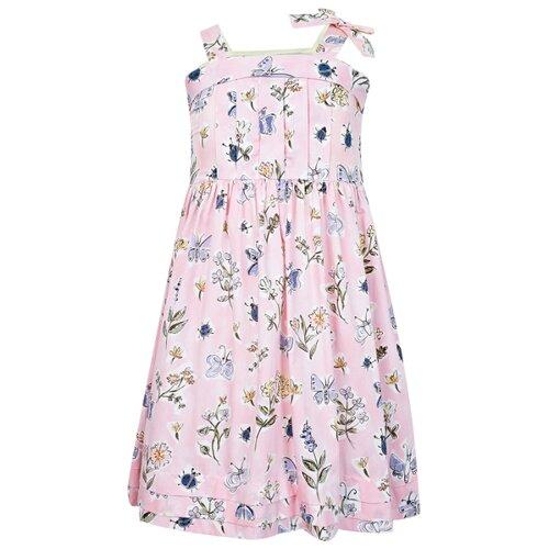 Купить Сарафан Il Gufo размер 140, розовый/цветочный принт, Платья и сарафаны
