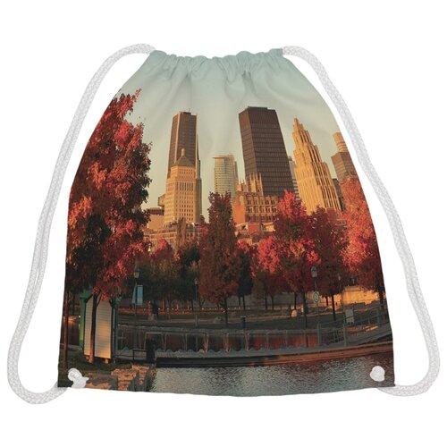 Купить JoyArty Рюкзак-мешок Осенний город в закате (bpa_38519) бежевый/коричневый, Мешки для обуви и формы