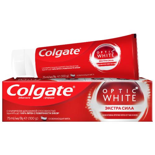Зубная паста Colgate Optic White Экстра сила отбеливающая, 75 мл электрическая зубная щетка colgate 360° optic white powered toothbrush синий