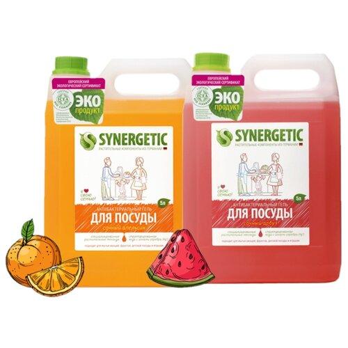 Synergetic Набор гелей для мытья посуды: Сочный арбуз, Сочный апельсин, 2 шт. по 5 л сменный блок synergetic антибактериальный гель для мытья посуды сочный апельсин 5 л сменный блок