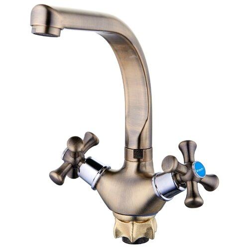 Смеситель для кухни (мойки) G-lauf QTZ4-D827KT двухрычажный бронзовый