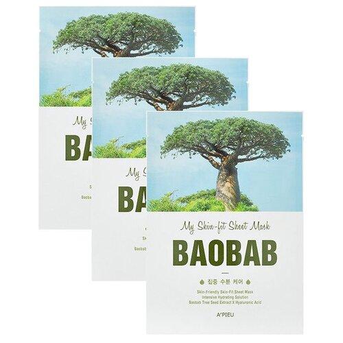 A'PIEU Тканевая маска My Skin-fit Sheet Mask Baobab с экстрактом баобаба, 25 г, 3 шт. тканевая маска для лица с экстрактом баобаба bergamo baobab aqua mask pack 28ml